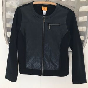 Jackets & Blazers - • Ruby Road black faux leather jacket •